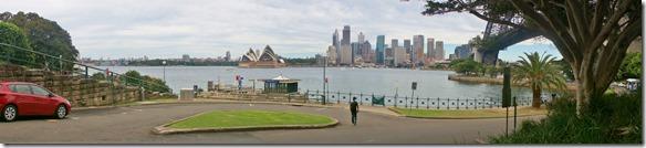 1887 Rundsicht über Teil des Sydneyer Hafen mit Oper und Brücke