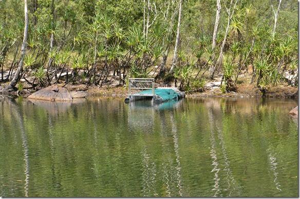 2797 mit dieser Falle werden die eingewanderten Korkodile gefangen und ein einen andern Ort weiter unten im Fluss gebracht