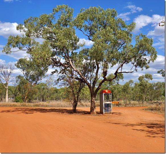 3195 man hat keinen Empfang mit dem Natel, aber für Notfälle steht hier am Campeingang eine Telefonkabine im Busch