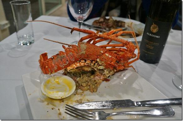 3501 ein letztes Mal Crayfischessen in Australien (im Restaurant Port View in Geralton)