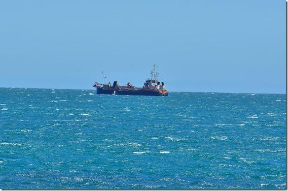 2071 dieser Fischkutter pumpt den Meeresgrund ab und sammelt so Essbares aus dem Meer
