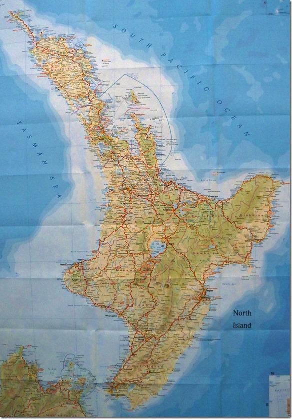 K 001 Neuseelandkarte Nordinsel LEER