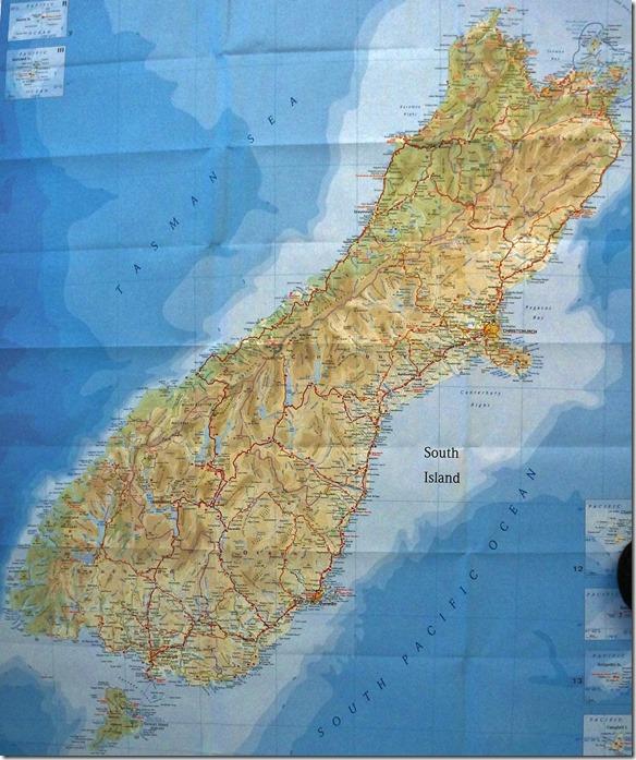 K 002 Neuseelandkarte Südinsel LEER