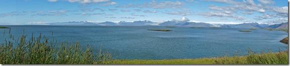 1965 5 Gletscherzungen auf einer Aufnahme von einer Halbinsel die in die Meerbucht reicht